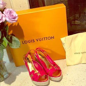 Vintage Louis Vuitton hot pink wedges